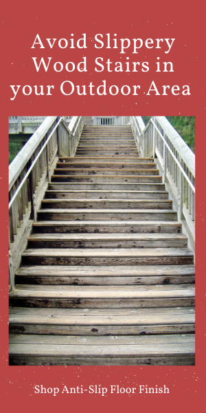 Slippery wood stairs outdoor area